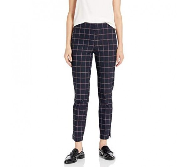 Tribal Women's Plaid Pull on Ankle Pant
