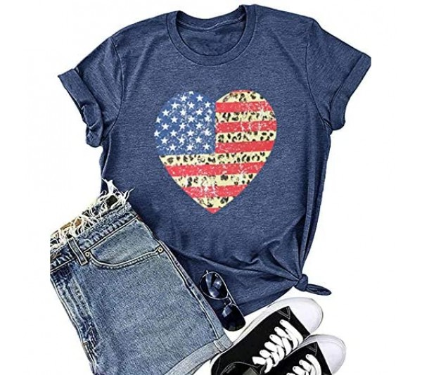 Oriental Pearl 4th of July Shirts for Women Funny Patriotic Tshirts American Flag Short Sleeve Casual Graphic Tee Shirt