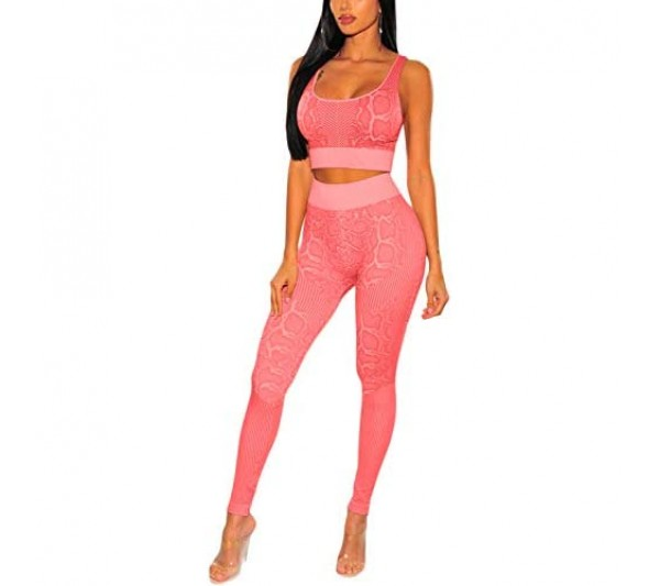 ioiom Women's 2 Piece Tracksuit Workout Outfits - Seamless High Waist Leggings and Stretch Sports Bra Yoga Activewear Set